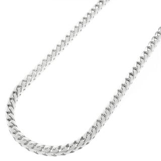 Sterling Silver 3mm Solid Franco Rhodium-plated Chain