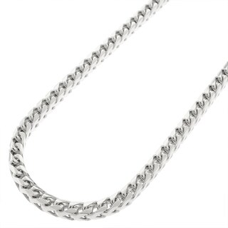 .925 Solid Sterling Silver 3.5MM Franco Square Box Link Rhodium Necklace Chain, Silver Chain for Men & Women, Made in Italy
