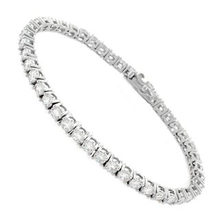 Sterling Silver 3mm White Fancy Round-cut Cubic Zirconia Tennis Bracelet