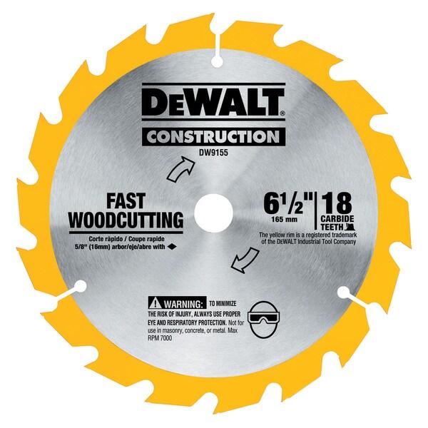 """Dewalt DW9155 6-1/2"""" 16T Carbide Circular Saw Blade"""