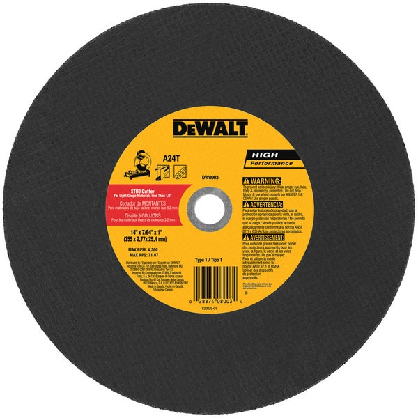 "DeWalt DW8003 14"" Chop Saw Wheel"