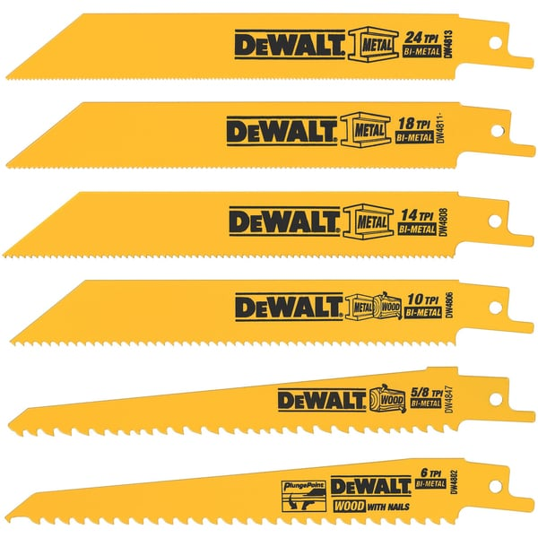 "Dewalt DW4856 6 Piece 6"" Metal & Wood Reciprocating Saw Blade Set"