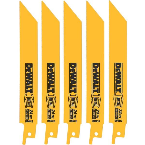 """Dewalt DW4813 5 Pack 6"""" 24 TPI Metal Cutting Reciprocating Saw Blades"""