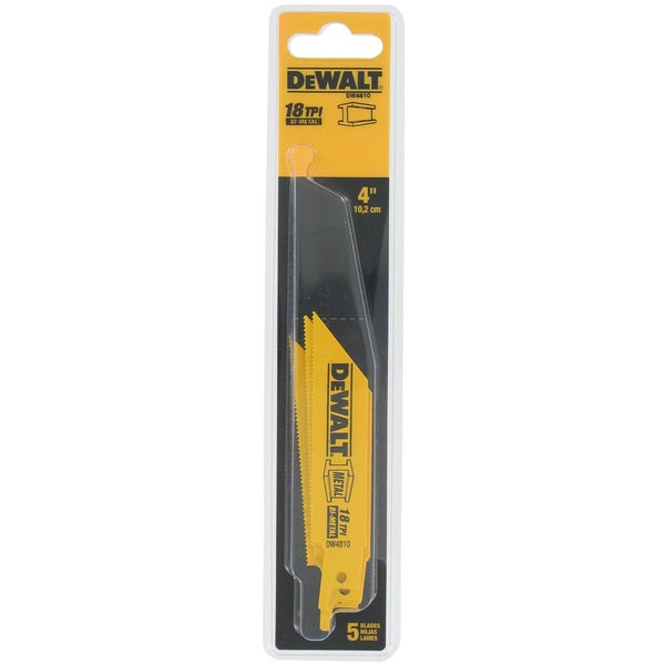 "Dewalt DW4810 5 Pack 4"" 18 TPI Metal Cutting Reciprocating Saw Blades"