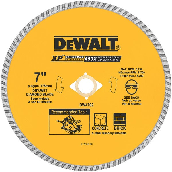 Dewalt DW4702 7 in. Concrete and Brick Diamond Circular Saw Blade