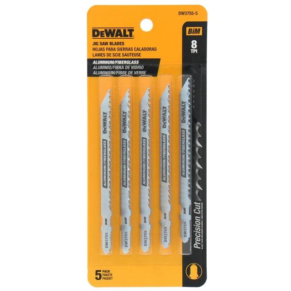 """Dewalt DW3755-5 4"""" T-Shank Cobalt Steel Jig Saw Aluminum/Fiberglass Blade"""