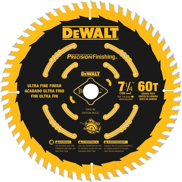 "DeWalt DW3596B10 7-1/4"" 60 TPI Precision Framing Saw Blade"