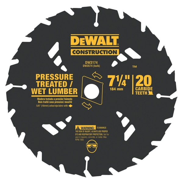 "DeWalt DW3174 7-1/4"" 20 TPI Pressure Treated & Wet Lumber Saw Blade"