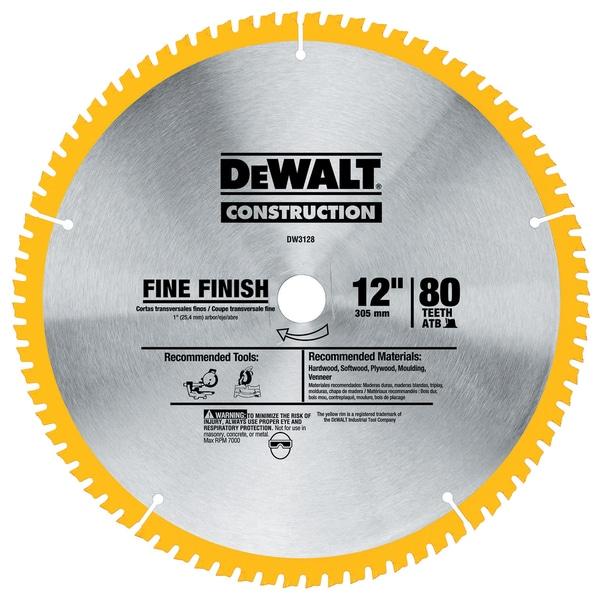 """Dewalt DW3128 12"""" 80T Fine Finish Circular Saw Blade"""
