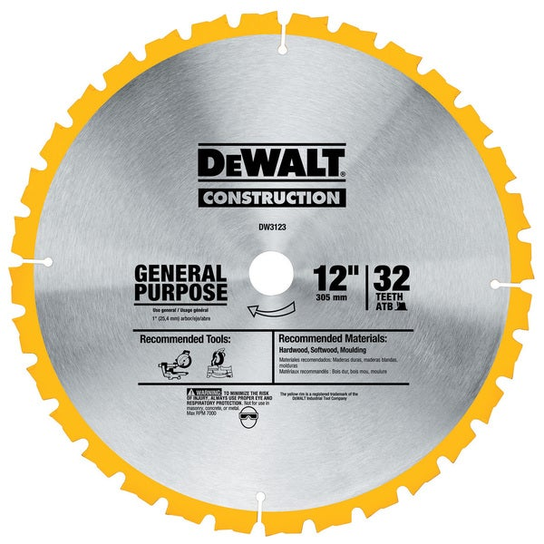 "Dewalt DW3123 12"" General Purpose Circular Saw Blade"