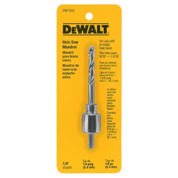 "Dewalt DW1800 1/4"" Dewalt Hole Saw Mandrels"