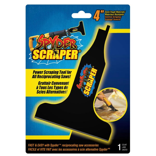 """Spyder 00108 4"""" Black Scraping Tool Attachment For Reciprocating Saw"""