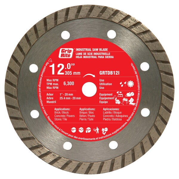 "Grip Rite GRTDB12I 12"" Industrial Turbo Rim Diamond Blade"