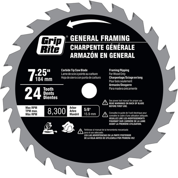 "Grip Rite GR71424TSB ""7-1/4"" Silver Soft Body 24 T Saw Blade"