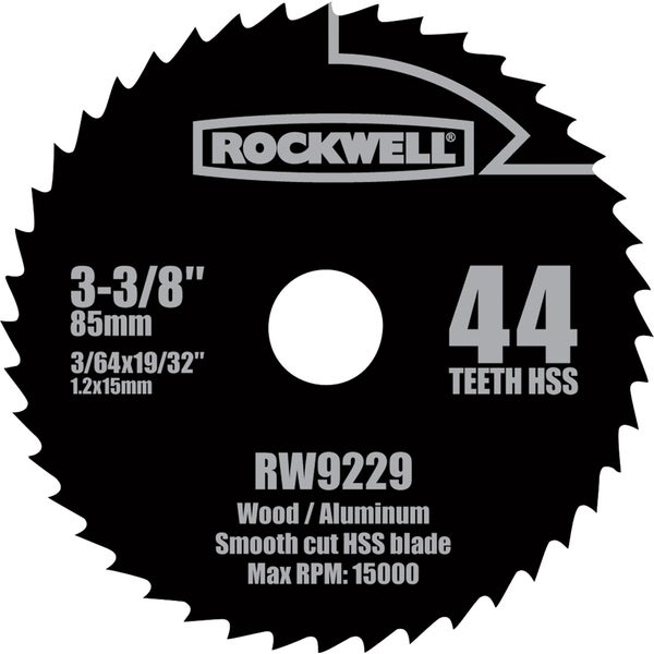"Rockwell RW9229 3-3/8"" Versa Cut 44 Teeth HSS Circular Saw Blade"