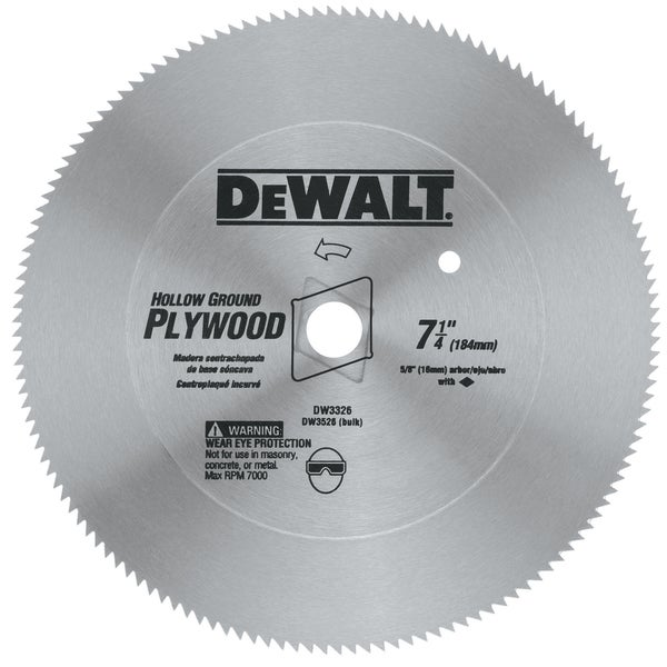 "Dewalt DW3526 7-1/4"" 40T 5/8"" Hallow Ground Steel Circular Saw Blade"