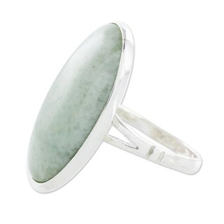 Sterling Silver 'Pale Green Tonalities' Jade Ring (Guatemala)