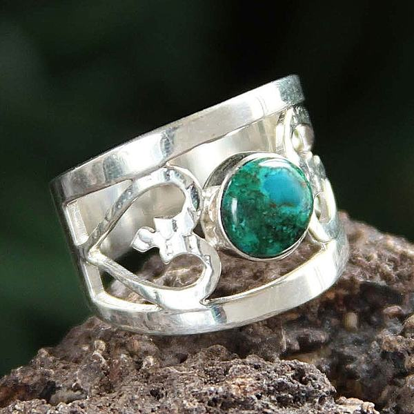 Handcrafted Sterling Silver 'Inseparable Love' Chrysocolla Ring (Peru)