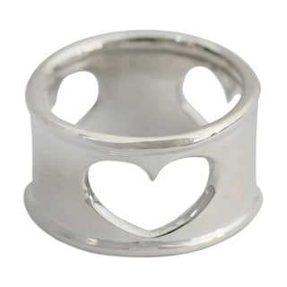 Handcrafted Sterling Silver 'Threefold Love' Ring (India)