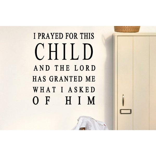 The words Prayed For This Child Wall Art Sticker Decal