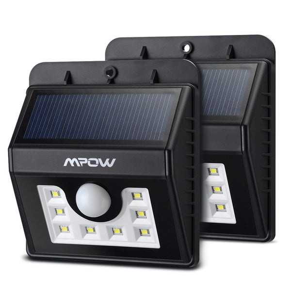 mpow super bright 8 led solar powered weatherproof outdoor