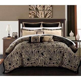 Chic Home Tullia Black/Beige Reversible 8-Piece Comforter/Quilt Set