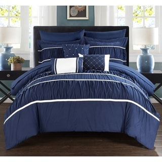 Chic Home Wanda Navy 10-piece Bed In a Bag with Sheet Set