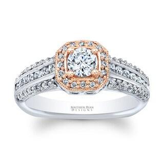 Matthew Ryan Designs 14k Two-Tone Gold 3/4ct TDW Diamond Halo Designer Engagement Ring (G-H, SI1-SI2)