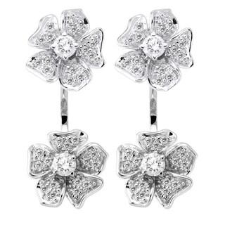 Beverly Hills Charm 14k White Gold 1ct TDW Diamond Behind The Ear Floating Jacket Flower Earrings Set (H-I, SI2-I1)
