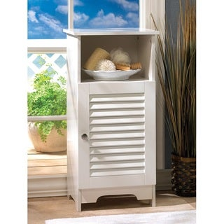 Olympia White Louvered Single Door Cabinet
