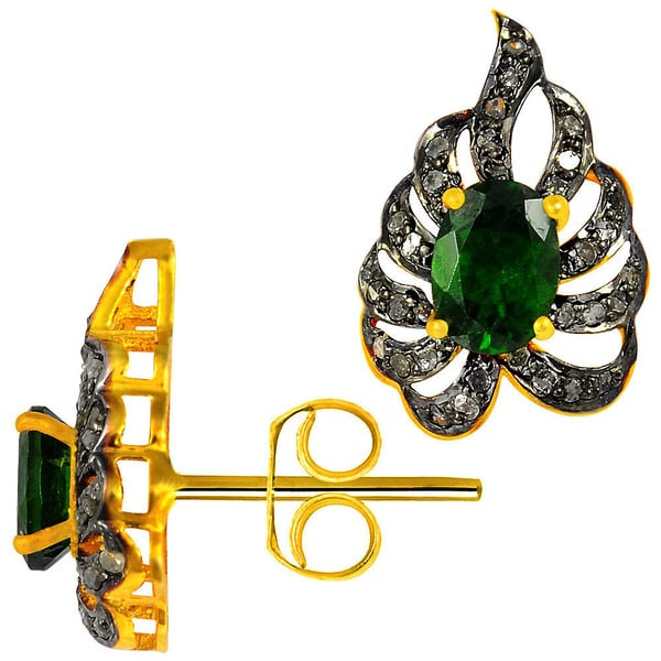 Orchid Jewelry Two-tone Gold and Black Over 925 Sterling Silver 2 1/9ct Oval-cut Chrome Diopside and Diamond Stud Earrings