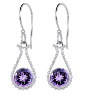 Orchid Jewelry Silver Overlay 2 1/4ct Genuine Amethyst Earrings