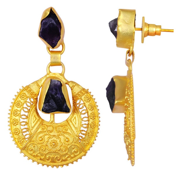 Orchid Jewelry Yellow Gold Overlay 35ct Amethyst Gemstone Dangle Earrings