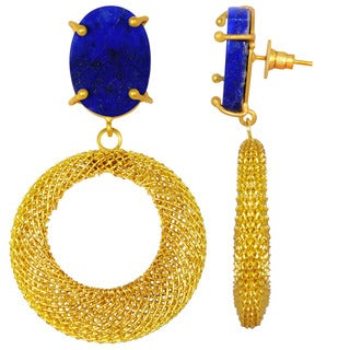Orchid Jewelry Yellow Gold Overlay 20ct Lapis Gemstone Dangle Earrings