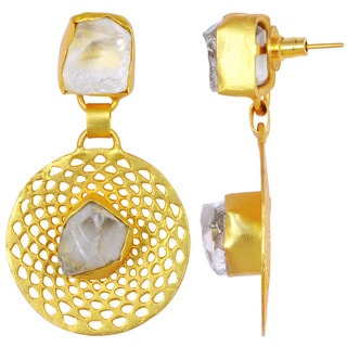 Orchid Jewelry Yellow Gold Overlay 25ct Green Quartz Gemstone Dangle Earrings