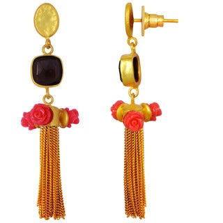 Orchid Jewelry Yellow Gold Overlay 25ct. Coral and Smoky Quartz Drop Earrings
