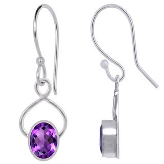 Orchid Jewelry Silver Overlay 2 2/7ct. Oval-cut Amethyst Earrings