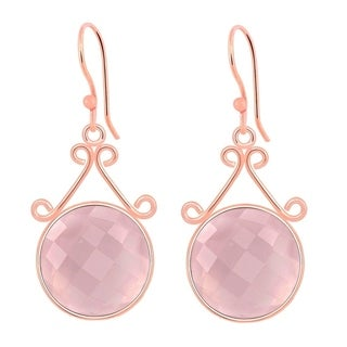 Orchid Jewelry Rose Gold Overlay 24 3/5ct. Round-cut Rose Quartz Earrings