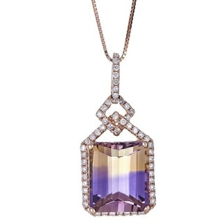 Anika and August 14k Rose Gold Emerald-cut Ametrine and Diamond Pendant