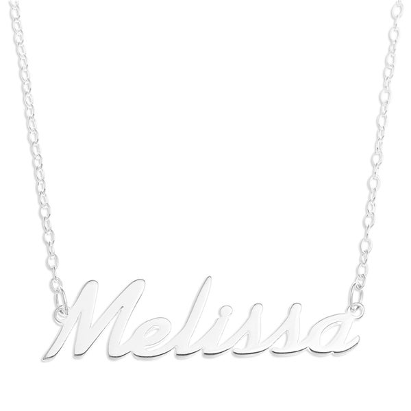 Sterling Silver 'Melissa' Name Pendant on 16-inch Trace Chain