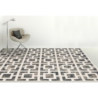 Hand-Tufted Constantine Gray White New Zealand Wool Rug (7'6 x 9'6)