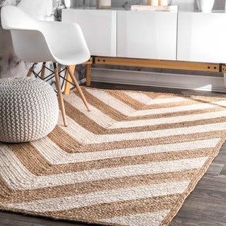 nuLOOM Alexa Eco Natural Fiber Braided Reversible Chevron Jute Rug (9' x 12')
