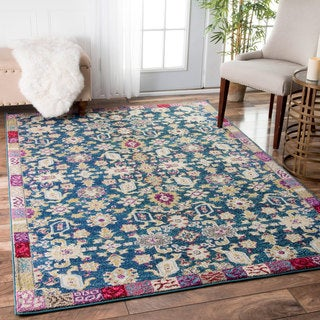 nuLOOM Traditional Floral Cubes Border Multi Rug (5'3 x 7'7)