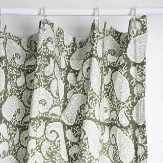 Elegant Green Paisley Motif Cotton Shower Curtain (India)