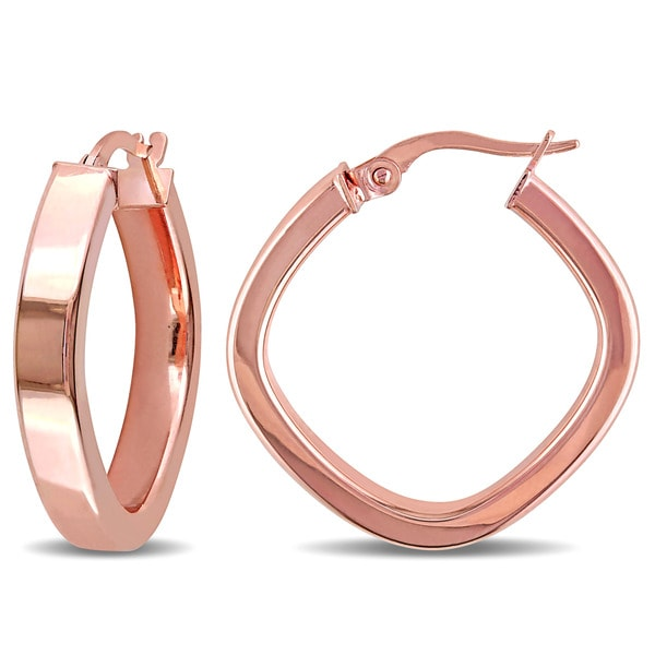 Miadora 10k Rose Gold Square Geometric Italian Hoop Earrings