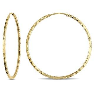 Miadora 18k Yellow Gold Diamond-cut Italian Hoop Earrings