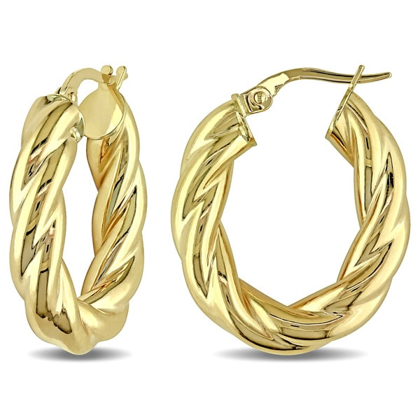 Miadora 10k Yellow Gold Oval Twist Italian Hoop Earrings 17919285