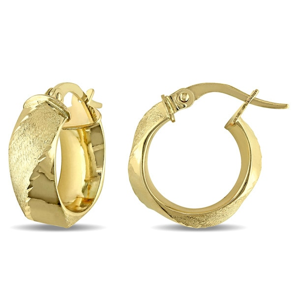 Miadora 10k Yellow Gold Twist Italian Hoop Earrings 17919287