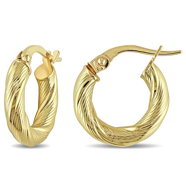 Miadora 10k Yellow Gold Satin Twist Italian Hoop Earrings 17919289