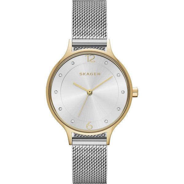 Skagen Women's Anita Silver Dial Stainless Steel Mesh Bracelet Watch